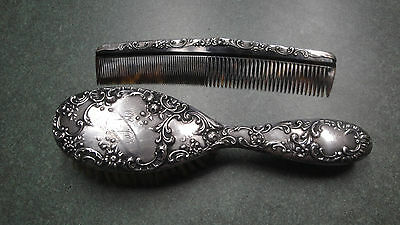 Sterling Silver hair brush & celluloid comb set momogram hallmarks fancy floral