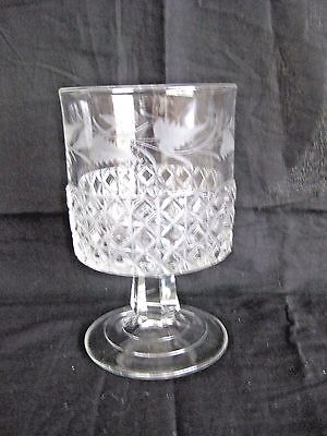 Antique American Brilliant Cut & Etched Glass Crystal Abp Compote Footed Bowl