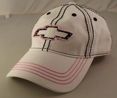 """""""Chevrolet Chevy Bowtie"""" White/Pink Adjustable Strap Back Baseball Hat Ball Cap"""