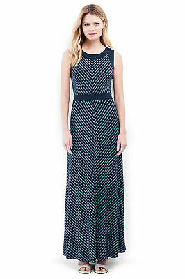 f750093a523 Lands End Women s Sleeveless Knit Maxi Dress Radiant Navy Dot Stripe New