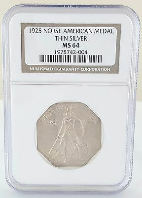 Graded 1925 Norse American Medal Thin Silver Ngc Ms 64