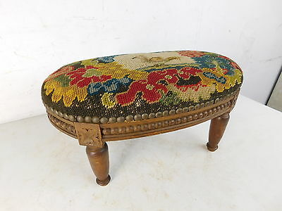 Antique French Victorian 1890s Needlepoint Small Size Ladies Footstool