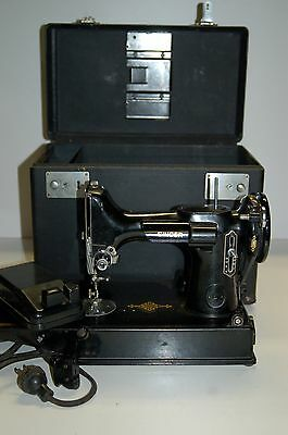 Vintage 1950 Singer Featherweight 221-1 Sewing Machine with Case & Foot Control