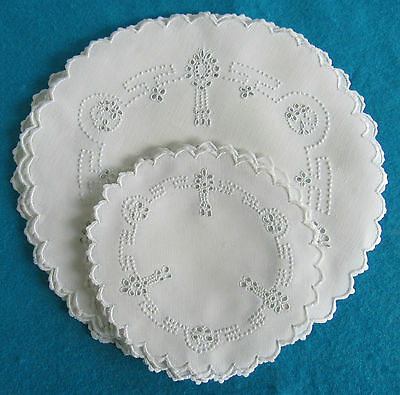 "12 Antique Madeira Doilies Embroidered Linen Tea Set 6, 10"" Cake & 6, 6.25 Tea"