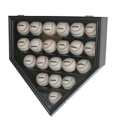 ULTRA CLEAR 21 Baseball display Case Cabinet Wall Shadow Box UV Protection Black