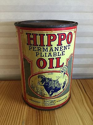 Antique Hippo Oil One Quart Can, French and English, Litho advertising Tin