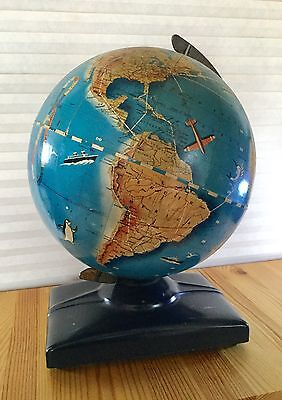 Antique 30's 40's Wonder World Globe, Mid Century, Replogle, Airplane Steamship