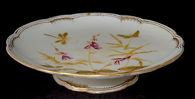 1877-80 Antique Royal Crown Derby Hand Painted Comport/Cake Stand-Butterfly Gilt