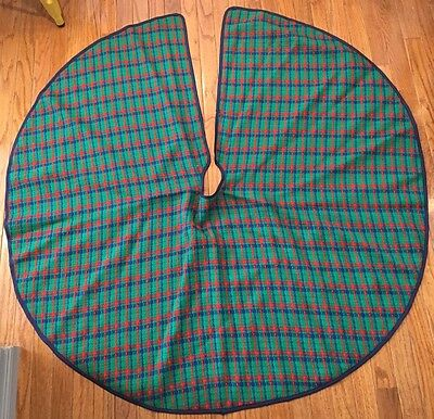 Gorgeous Reversible Christmas Tree Skirt Plaid Red Pristine Holiday Decor