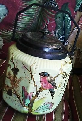 Vintage biscuit jar.Very good condition/original silver top. 6 x 6  bird &floral