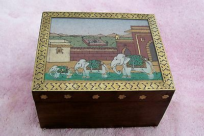 india or southeast asian wooden box, brass surround elephant caravan