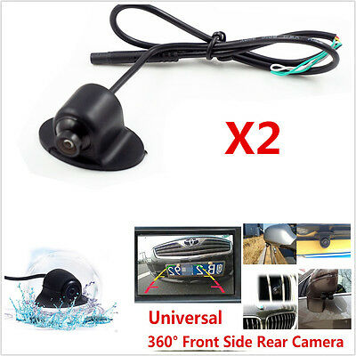 2X360° HD Rotatable Car Front Side Rearview Mirror Reverse Backup Camera Parking