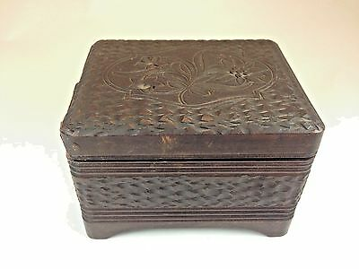 Antique German 19th C. Black Forest Hand Carved 2 Song  Music Box