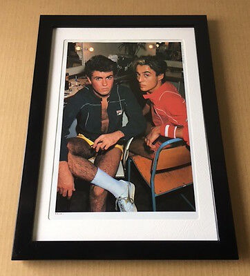 1984 Wham! George Michael vintage JAPAN mag photo pinup mini poster FRAMED 2r