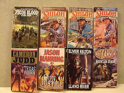 Mixed lot of 8 Westerns Paperback Books,   See list.(A)