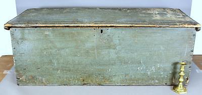 Rare Early W&m 18Th C Ct Blanket Chest Absolute Best Original Blue Green Paint