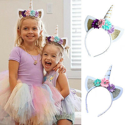 Magical Unicorn Horn Floral Head Party Kid Headband Fancy Dress Decorative Gifts