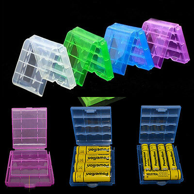 4PCS 4Color Clear Hard Plastic Case Holder Storage Box Cover For AA AAA Battery