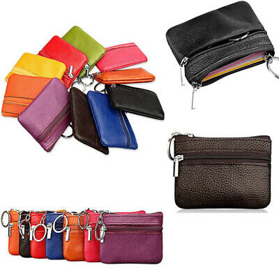 Women Kids Card Coin Key Holder Zip Genuine Leather Wallet Pouch Bags Purse New