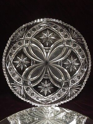 "Gorgeous American Brilliant Period (Abp) Cut Glass 12"" Tray / Platter"