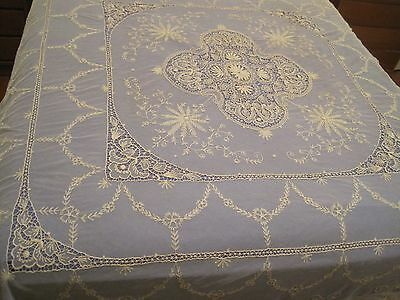 LARGE ANTIQUE TAMBOUR LACE NET BEDSPREAD - queen size - beige