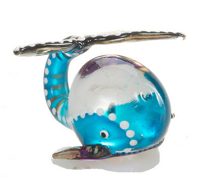 Mini Whale Blue Fish Hand Blown Blowing Glass Art Animal Fancy Collectibles