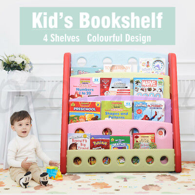 New Kids Children Study Room Library Colourful Plastic Bookshelf For Books Toys