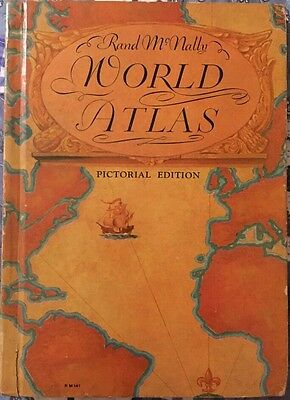 1934 RAND McNALLY WORLD ATLAS PICTORIAL EDITION HARDCOVER BOOK Vintage Classic