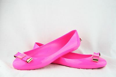 Ted Baker Women's Escinta pink Synthetic Bow Jelly Ballet Flats Size 6