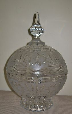 LARGE, BEAUTIFUL VINTAGE FROSTED GLASS COMPOTE +lid 25cm