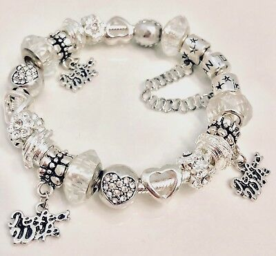 "Authentic Pandora Bracelet Charms White Silver  ""My Perfect Wife"" Choice Of Box"