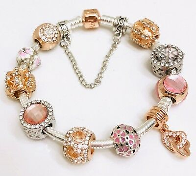 Authentic Pandora Rose Collection  Bracelet W/ Charms  Pink  Love And Hearts