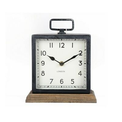 Square Free-Standing Black Metal & Wood Mantle Clock – Table Desk Wooden Modern