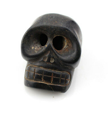 A004 Ancient China Hongshan Culture Meteorite Jade Hand Carved Skull Statue