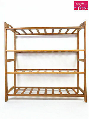 4 Tiers Bamboo Shoe Rack Storage Organizer Standing Shoes Shelves YW