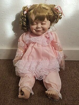 Sleeping 13 Inches Tall Porcelain Baby Girl Doll