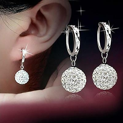 Ladies 925 Sterling Silver Crystal Rhinestone Ear Stud Earrings Hoop Earrings