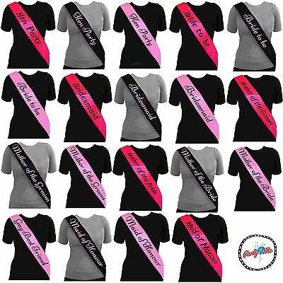 Black Sash Pink Writing Hen Night Party Sashes Bride To Be Bridesmaid Mother