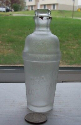 Vintage Frosted Glass Mix Bottle Embossed, Shaker Cocktails -1920's Period