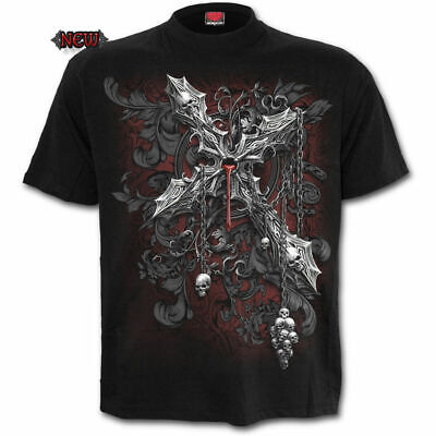 SPIRAL DIRECT CROSS OF DARK T-Shirt/Tattoo/Skull/Demon/Gothic/Goth/Rose/Top/Tee