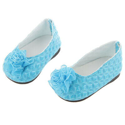 """Blue Flat Shoes with Flowers for 18"""" American Girl AG Doll Clothes Accessory"""