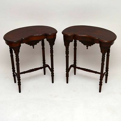 Pair Of Antique Victorian Mahogany Kidney Shaped Lamp Tables