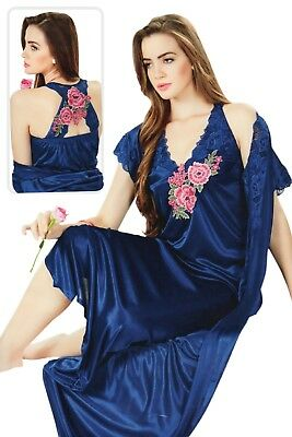 Womens Satin Lace Long Nightdress Ladies Nighty Chemise Embroidery Detailed
