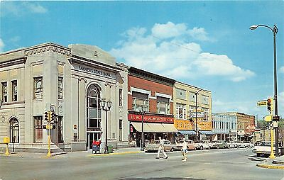 Valparaiso Indiana~Lincoln Highway~Woolworth~Rexall~State Bank~50s Cars~Postcard