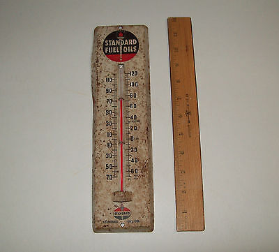 Vintage STANDARD FUEL OILS Outdoor Thermometer, Advertising