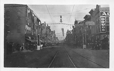 Richmond Indiana~Main Street~Crowd of People @ Fall Festival~Banners~c1910 RPPC