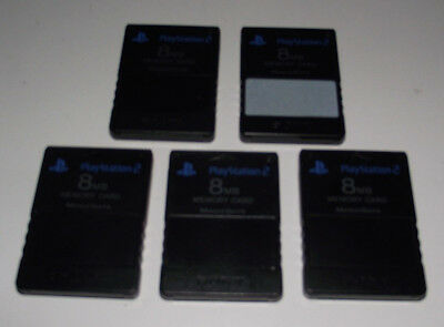 5 X Genuine Playstation 2 PS2 8MB Memory Card Sony *Region Free*