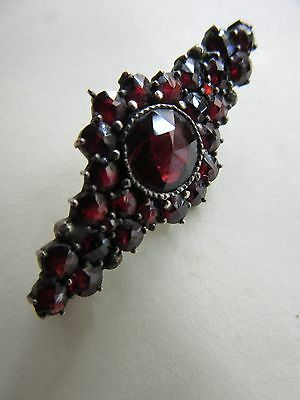 lovely edwardian silver and garnet lace pin/brooch