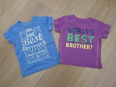 Baby Boys Next Age 9-12 Months Best Brother T-Shirt Top Bundle Twins