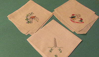 3 Vintage Unused Embroidered Irish Linen Souvenir Hankies Shamrocks Gnomes